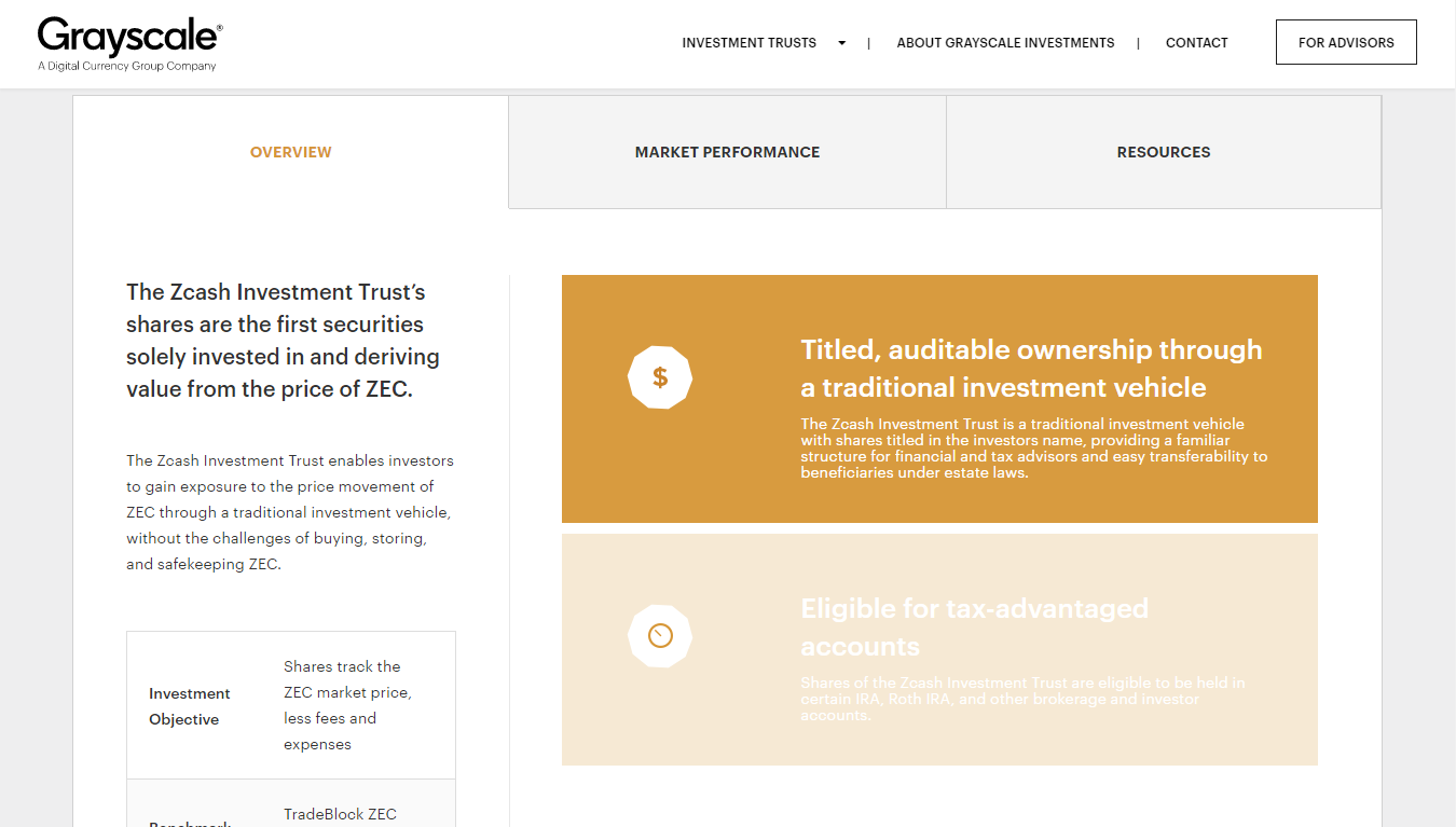 Grayscale Investment запускает Zcash Investment Trust
