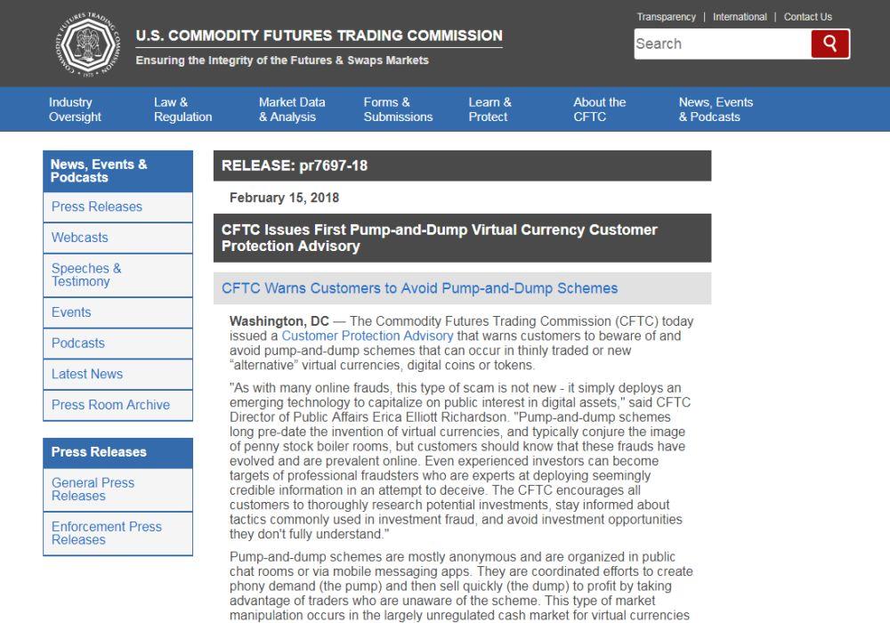 CFTC предупреждает о pump-and-dump и обещает премию