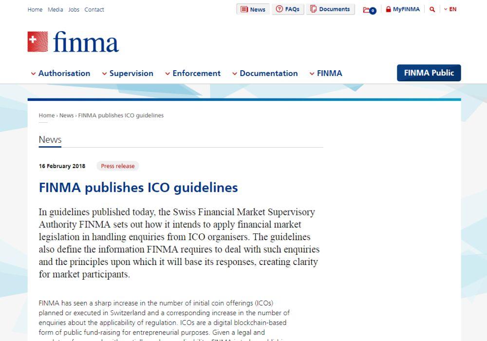Швейцарская FINMA опубликовала руководство по ICO