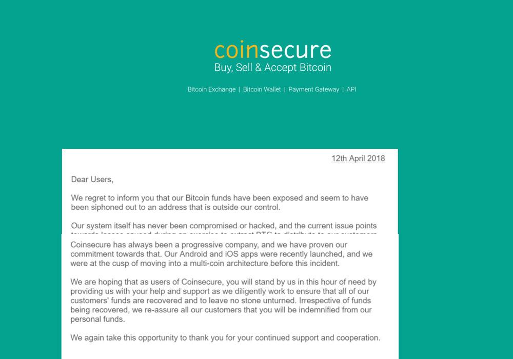 Криптобиржу Coinsecure обчистили на 3 млн.
