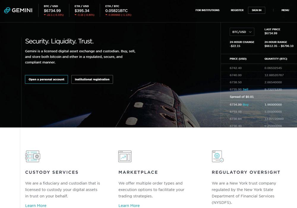 Криптобиржа Gemini запустит блочную торговлю BTC и ETH