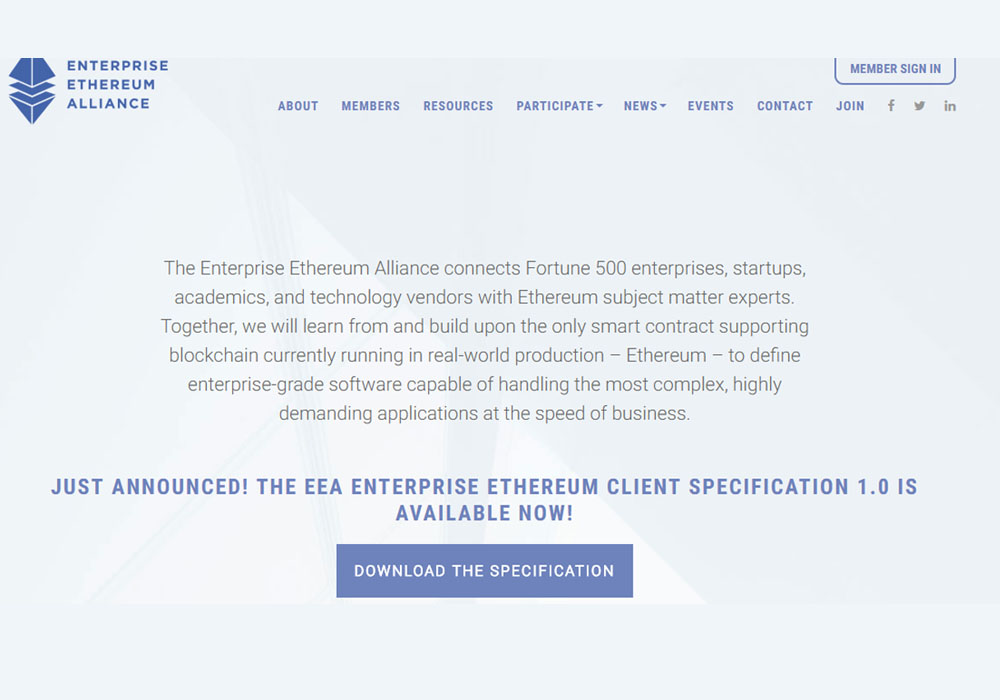Представлена спецификация Enterprise Ethereum Client 1.0