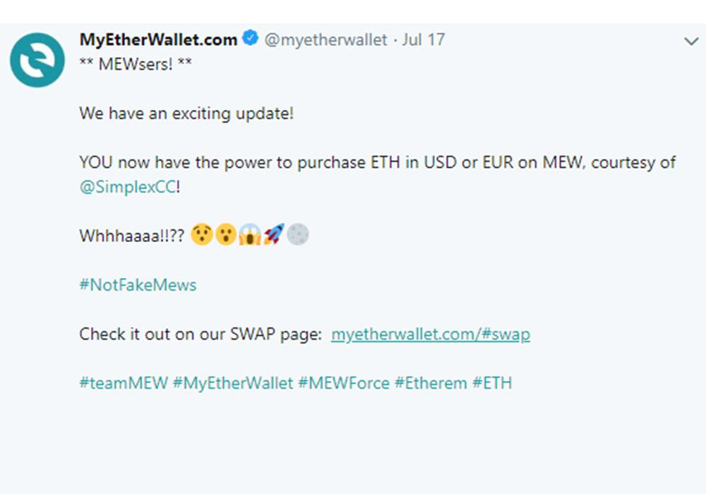 На MyEtherWallet можно купить эфир за фиатные деньги